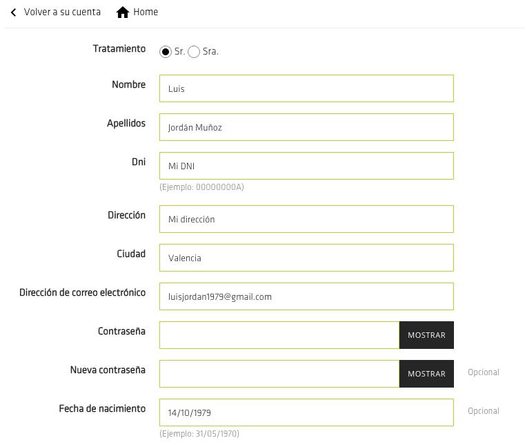 campo dni en el formulario de registro