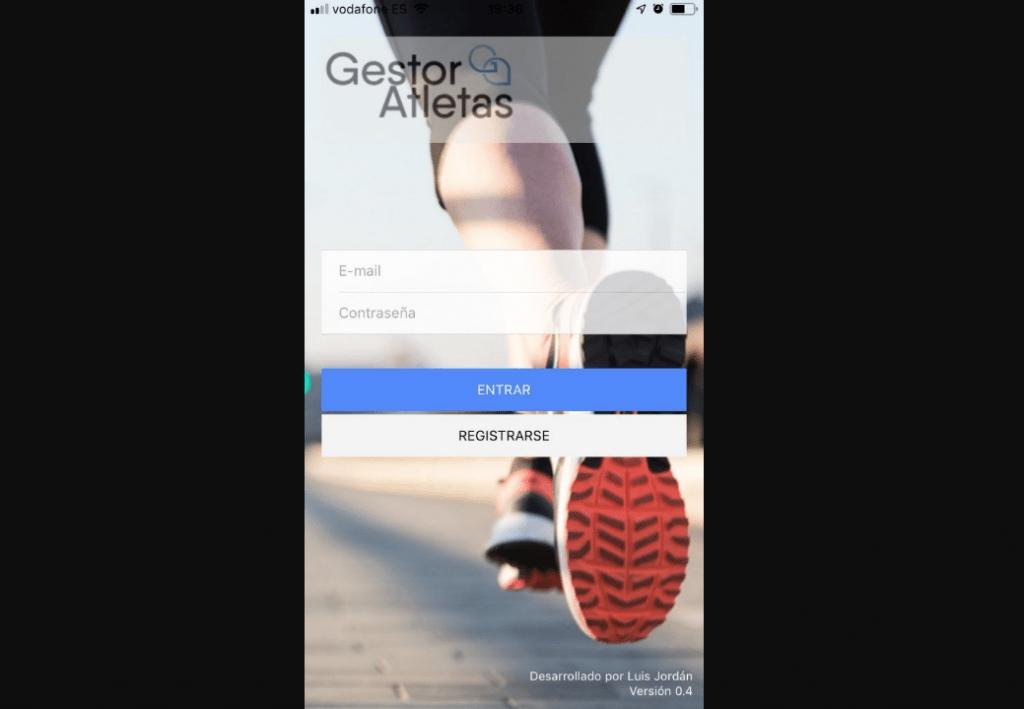 Aplicación de gestor de atletas - login