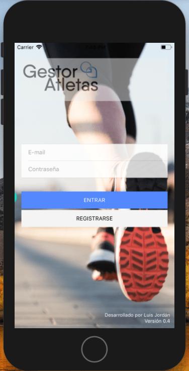 Software para gestion de atletas - Página de inicio