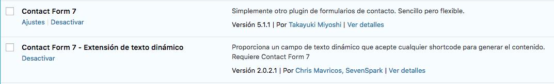Plugins contact Form 7